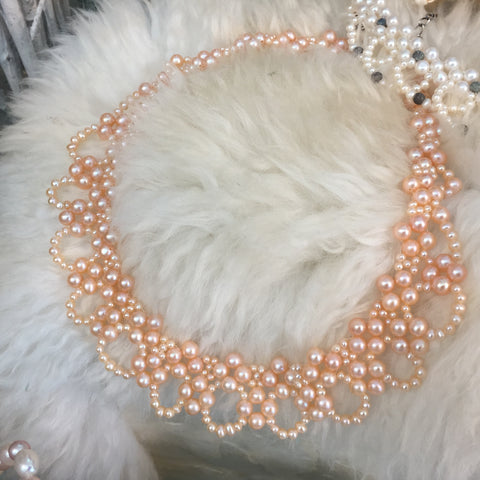"""Champagne & Justice"" -'RBG' Style, Champagne Pearl Lace Collar Necklace"