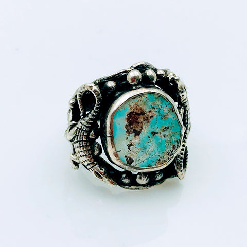 Turquoise Alligator Sterling Silver Ring - Size 7