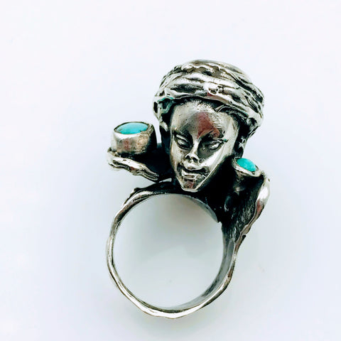 """Black is Beautiful"" -Blackamoor Turquoise Sterling Silver Ring - Size 8"