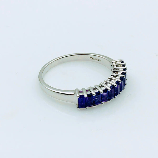 """The Lovely Line UP"" -Amethyst Sterling Silver Ring - Size 10.5"