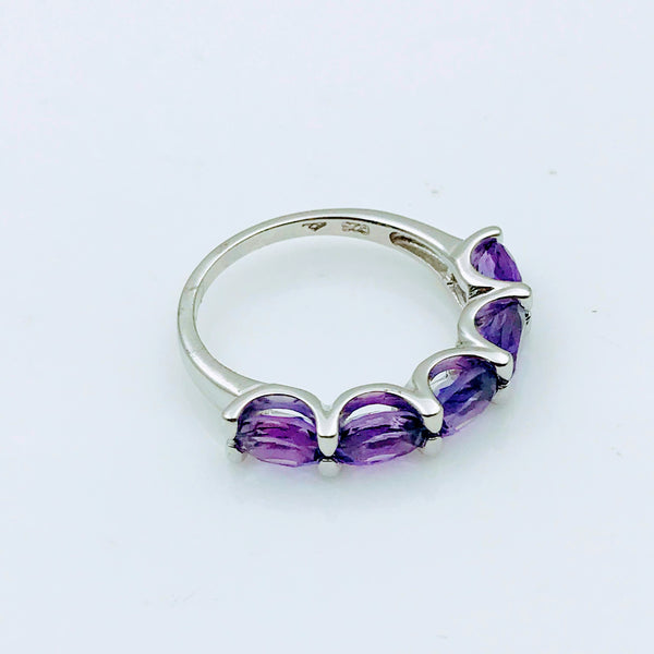 """Get In Line, Lady!"" - Amethyst Sterling Silver Ring - Size 7"