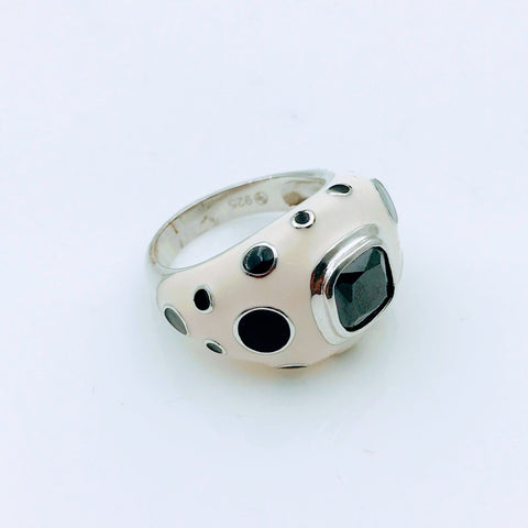 """Spot ON!"" - Black Onyx and Enamel Sterling Silver Ring - Size 7"