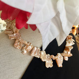 Orange Pink Baroque Double Stick Pearl Necklace - 18in with 14kt Gold Safety Clasp