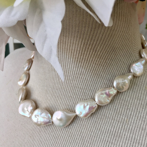 White Baroque Coin Pearl Necklace