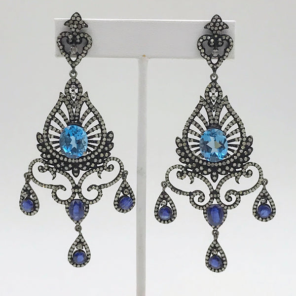 Statement Blue Sapphire and Diamond Post Drop Earrings