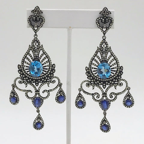 """Stunners"" -Statement Blue Sapphire and Diamond Post Drop Earrings"