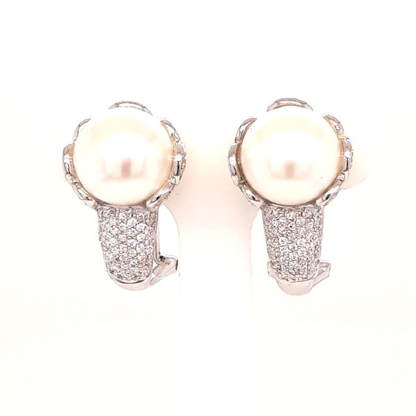"""Red Carpet Ears"" - White Pearl Euro Clip Sterling Statement Stud Earrings"