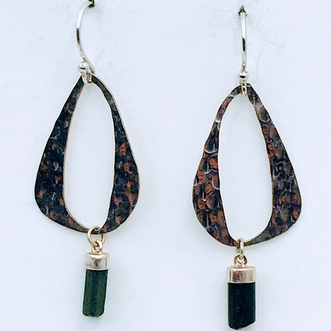 """Mid-Mod ME"" Tourmaline Sterling Silver Dangle Earrings"