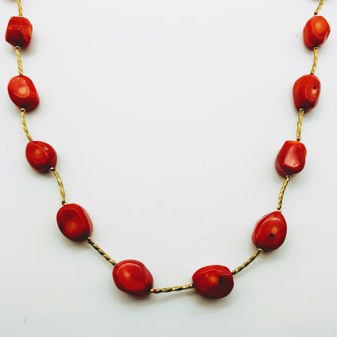 Long Ethical Red Coral Necklace - 40 inch