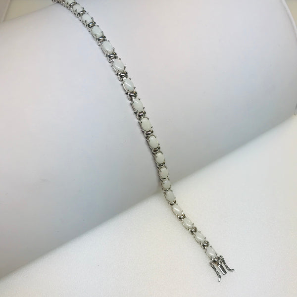 """It's All White, Love"" - Opal and Sterling 925 Tennis Bracelet"