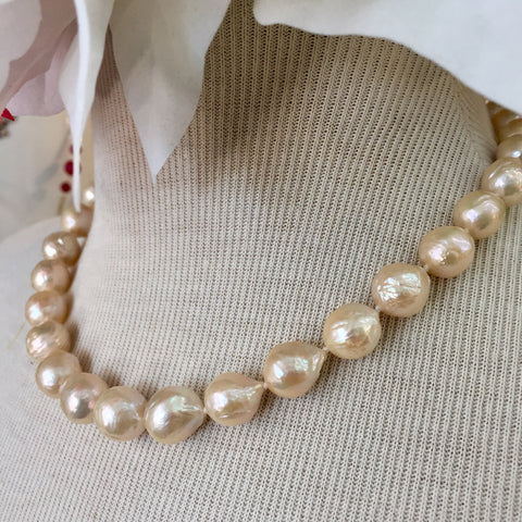 """Peaches N Cream"" - Orange'ish Baroque Pearl Strand Necklace - 16 inch Chocker"