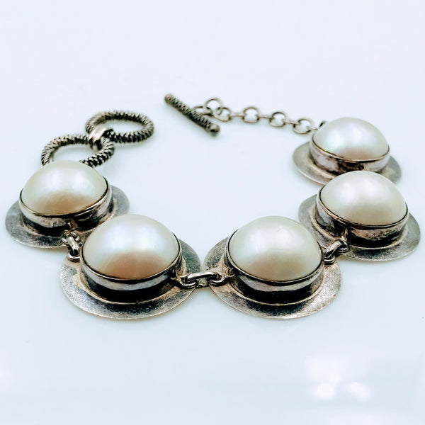 Mabe' SO! - GIANT Mabe' Pearls in Sterling Silver Bracelet