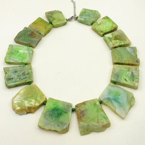 Green Agate Slab Necklace - 18 inch