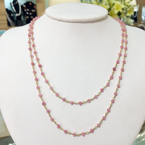 Pink Rose Quartz Gem Chain - 36in