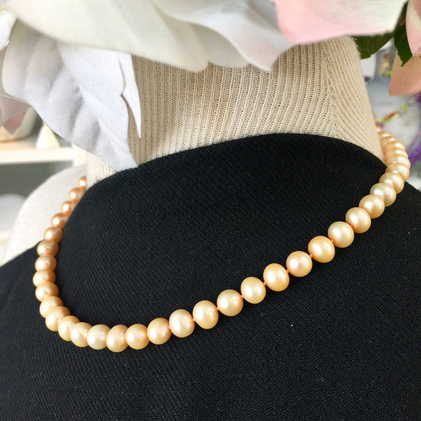 343d6e0a92c39 ' Every Petal is Perfect' Orange'ish Pearl Necklace 17in- with 14kt Gold  Safety Clasp