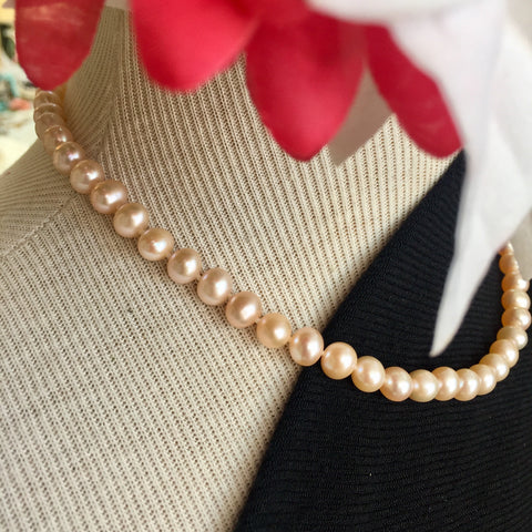 Pinkish Orange Round Pearl Necklace - 17in