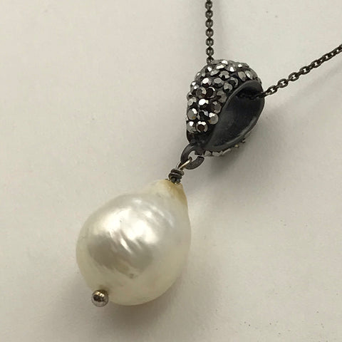 White Baroque Pearl Sterling Pendant Necklace - 16 inch