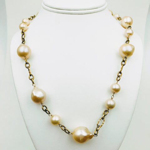 Creamy Baroque Pearl and Gold Necklace, 20 inch