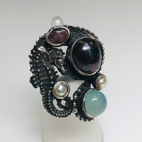 Seahorse, Peacock Pearl, Chalcedony and Sapphire Sterling Ring - Size 7.5