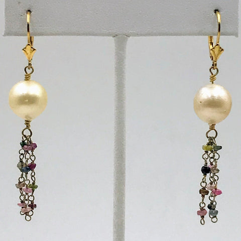 Butter Cream & Berries - Golden South Sea Pearl and Tourmaline Gold Lever Back Earrings