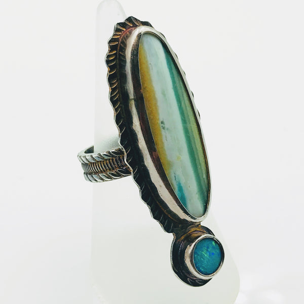 """Oh, I WOOD!"" - Opal Replaced, Petrified WOOD! with Australian Opal & Patina Sterling Silver Ring - Size 7"