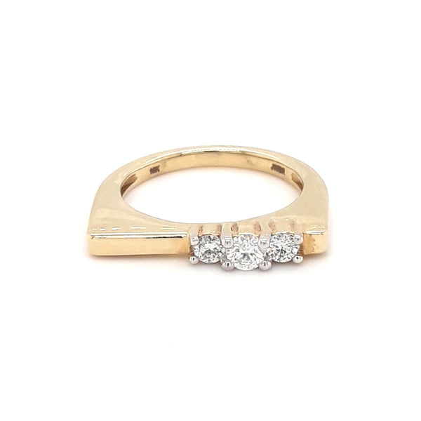 Diamond Gold Bar Ring - Size 6.5