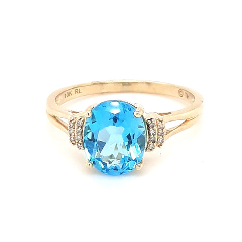 Blue Topaz and Diamond Gold Ring - Size 9