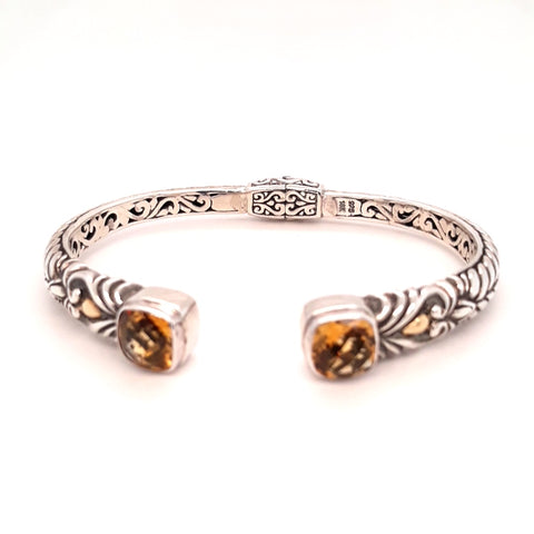 Orange Gemstone Sterling Hinged Cuff Bracelet