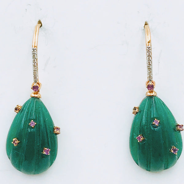 Green Gemstone and Pink Gemstone Rose Gold Drop Earrings