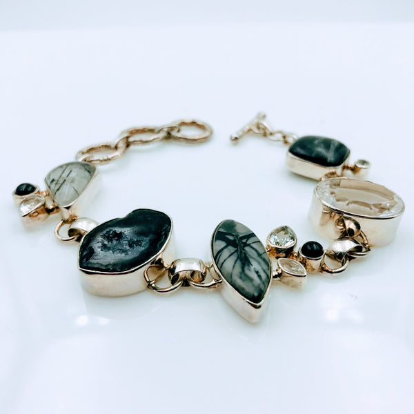 Rutilated Quartz, Druzy, Onyx and Gemstone Sterling Silver Bracelet