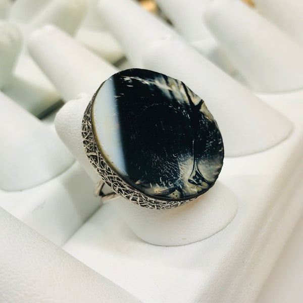 """Stoned"" Petrified Wood Sterling Ring - Adjustable"