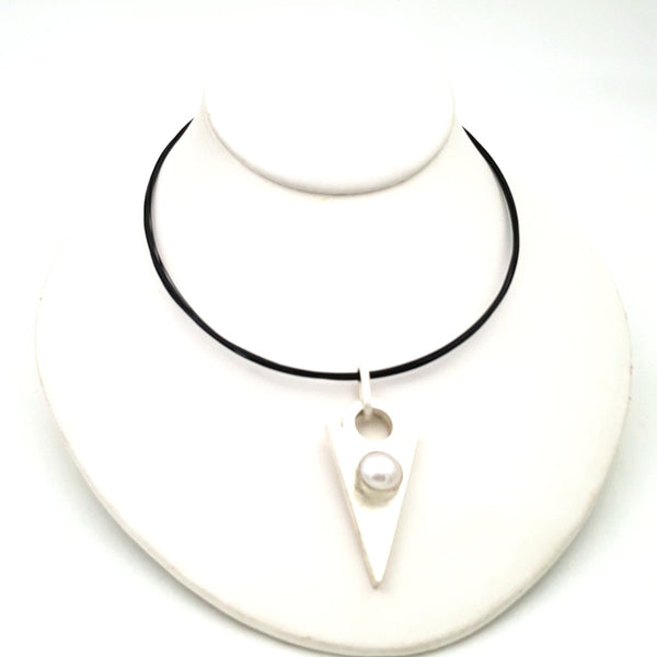 """The Point of Pleasure"" - Pearl and Sterling Point Pendant Necklace"