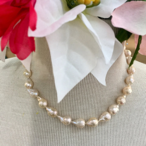 Classic Off White Baroque Pearl Necklace - 16 inch