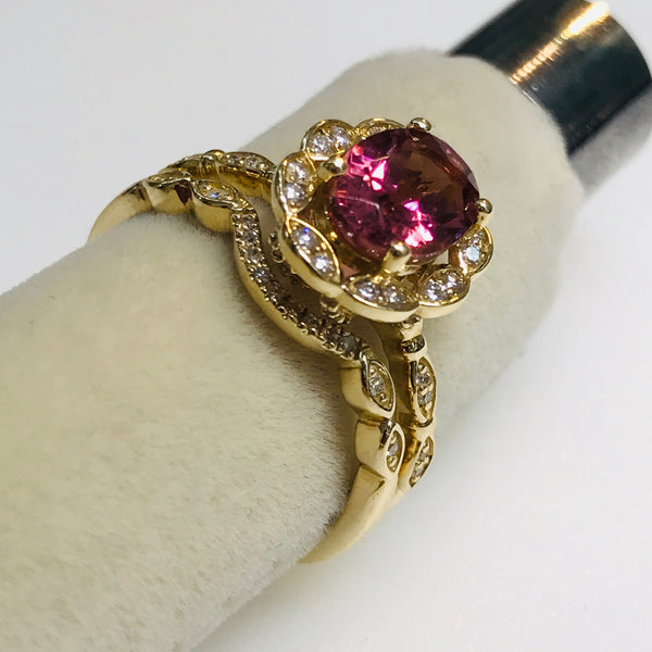 """Crush on You"" - Rubelite Pink Tourmaline and Diamond 14kt Gold Engagement Set with Band Ring Set - Size 7"