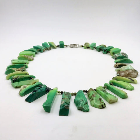 Green Variscite Sterling Silver Necklace - 22 inch
