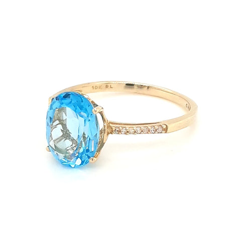Blue Topaz and Diamond Gold Ring - Size 7.5