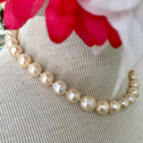 """Cream of the Crop"" - 11mm/12mm Off White Pearl Strand Necklace - 16 inch Chocker with 14k Gold Safety Clasp"