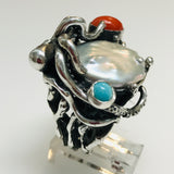 Octopus Sealife Pearl, Italian Red Coral and Turquoise Sterling Ring - Size 7