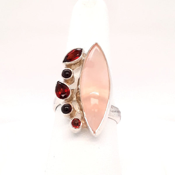 Framboise For Me! - Rose Quartz, Garnet and Onyx Sterling Ring - Adjustable