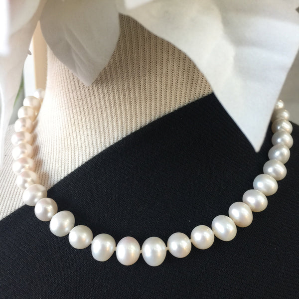 White Pearl Necklace -18in with 14kt Gold Safety Clasp