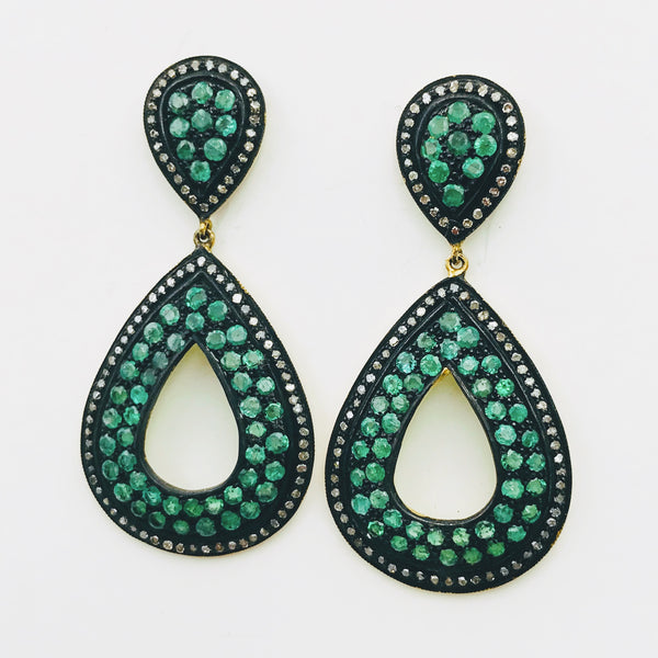 """Emerald Eyes"" -Emerald and Diamond Gold Post Drop Earrings"