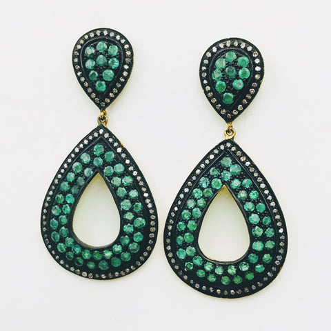 Emerald and Diamond Gold Post Drop Earrings