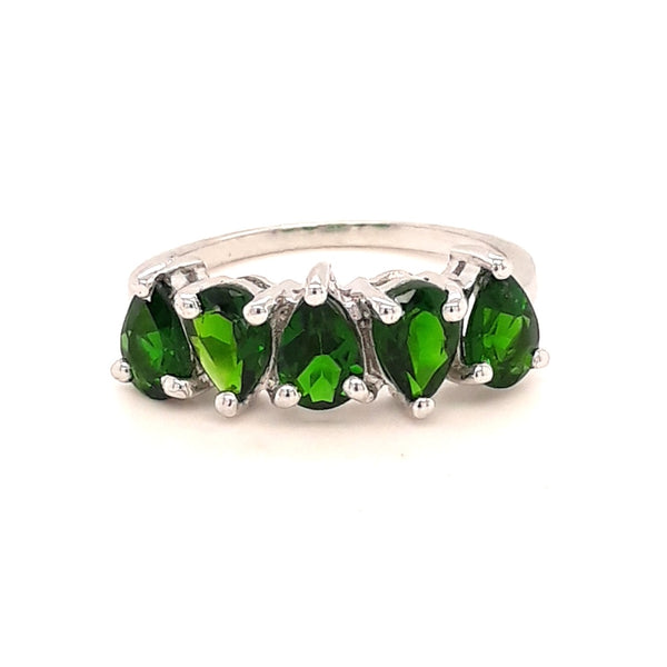 Green Gemstone Sterling Ring - Size 7