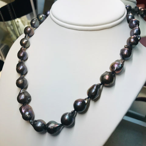 17 inch Peacock Baroque Pearl Necklace Strand