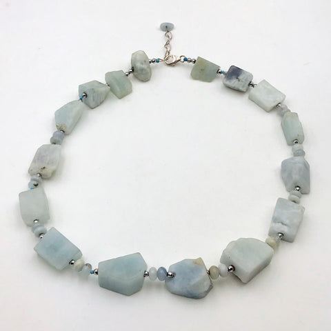 Natural Untreated Aquamarine Sterling Silver Necklace - 18 inch