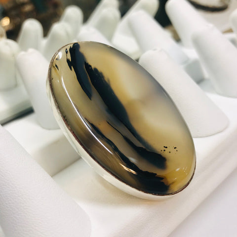 """The Bigger, The BETTER!"" - Agate & Sterling Ring - Adjustable"
