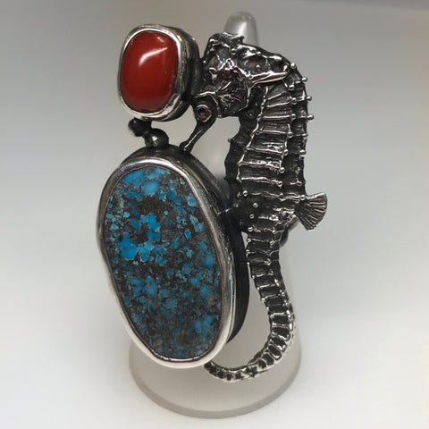 Turquoise and Red Coral Seahorse Sterling Statement Ring - Adjustable