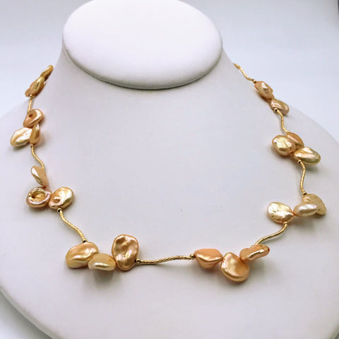 14K Gold Bronzey Copper Keishi Pearl Necklace - 18 inch