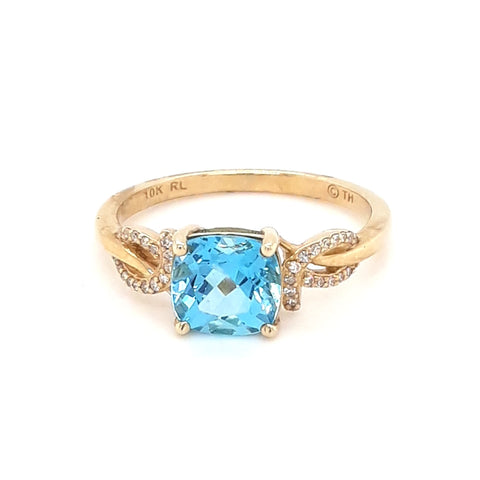Blue Topaz and Diamond Gold Ring - Size 7