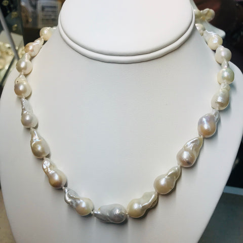 """White Fireballs!"" - White Baroque Pearl Necklace, 16 inch"